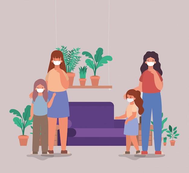 Matki i córki z maskami w domu projektowania