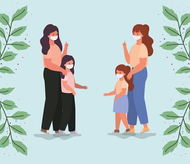 Matki i córki z projektowaniem masek i liści