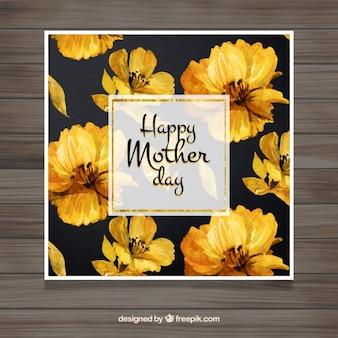 Matki karta z akwarele żółtymi kwiatami