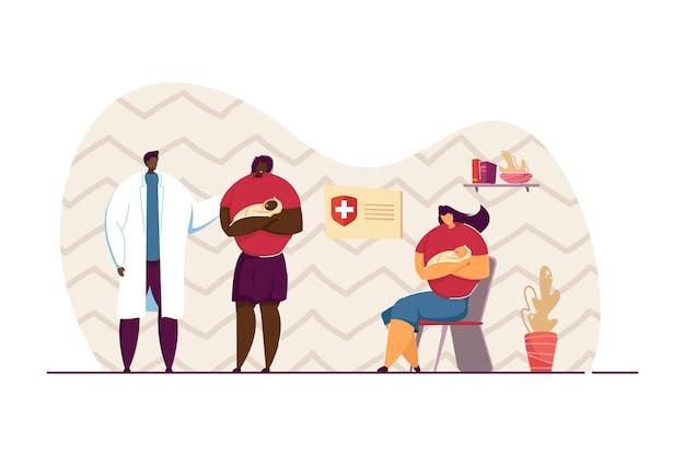 Matki z dziećmi konsultujące się z pediatrą. kobieta trzyma dziecko i czeka w kolejce na powołanie płaskie wektor ilustracja. opieka zdrowotna, medycyna, koncepcja dzieci na baner, projektowanie stron internetowych