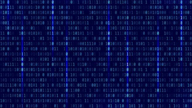 Matrycowe tło z niebieskim światłem. kod binarny komputera. wektor