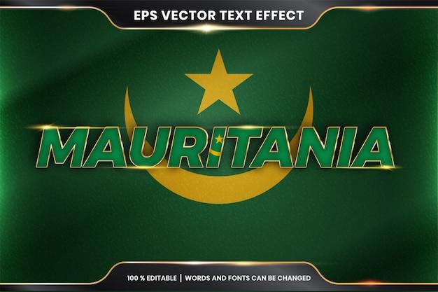 Mauretania z flagą narodową kraju, edytowalny styl efektu tekstu z koncepcją koloru złota