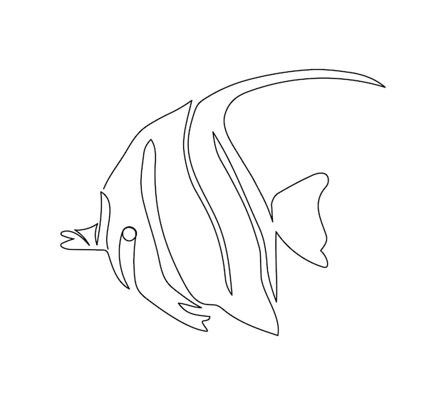 Mauretański bożek, rysowanie ciągłej linii zanclus cornutus. jedna linia sztuki ryb rafowych, owoców morza.