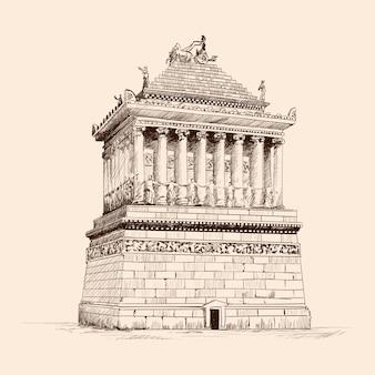 Mauzoleum z kolumnami w halikarnasie. szkic ołówkiem na beżowym tle.
