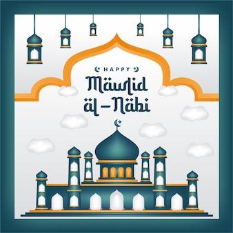 Mawlid al-nabi w mediach społecznościowych po narodzinach proroka z meczetowym tłem