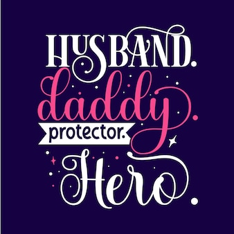 Mąż dddy obrońca bohater unikalny element typografii premium vector design