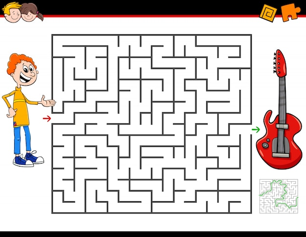 Maze activity game with boy and electric guitar