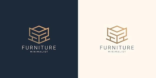 Meble abstrakcyjne logo z kreatywnym geometrycznym stylem linii dla inspiracji sklepu meblowego