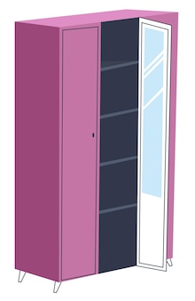 Meble do aranżacji wnętrz domowych. izolowana szafa z półkami i lustrem, schowek na przebieralnię. organizacja w mieszkaniu, wieszak na ubrania. modna różowa garderoba. wektor w stylu płaskiej