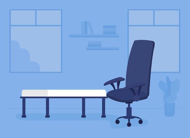 Meble do gabinetu ilustracja wektorowa płaski kolor. organizowanie umeblowanego gabinetu psychoterapii. środowisko szpitalne wnętrze kreskówek 2d z kanapą i krzesłem biurowym na tle
