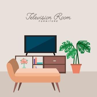 Meble do pokoju telewizyjnego doniczkowa kanapa