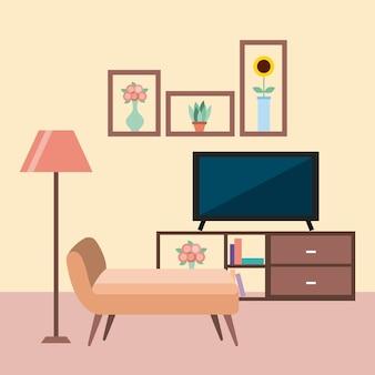 Meble do pokoju telewizyjnego sofa lampa podłogowa szafka książki półki kwiaty