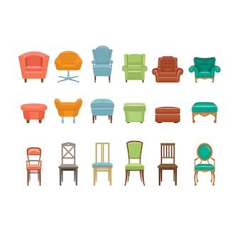 Meble do siedzenia. krzesła, fotele, taborety ikony.