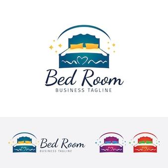Meble do sypialni, wektor logo szablon