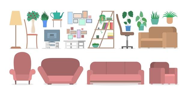 Meble do wnętrz w zestawie apartamentowym. kolekcja sofy i fotela. wygodne siedzisko i roślina w doniczce. element projektu domu. ilustracja wektorowa płaski
