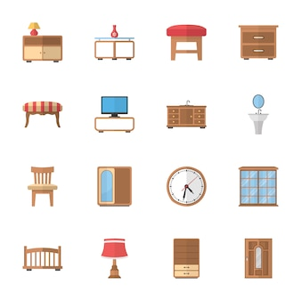 Meble domowe i biurowe płaskie ikony