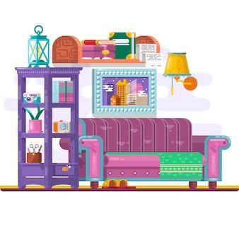 Meble domowe. projektowanie wnętrz. zestaw elementów, regał, kanapa, zegar, lampa, kwiaty, zdjęcia. udekorowanie strefy odpoczynku. ilustracje wektorowe