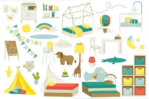 Meble dziecięce do pokoju dziecięcego lub pokoju zabaw, zestaw ilustracji. wnętrze żłobka z zabawkami, łóżeczko dziecięce, stół, krzesła i lampy, dekoracje. domowe meble domowe dla dzieci.