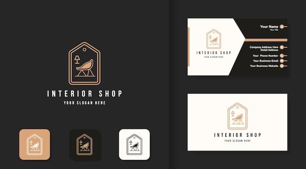 Meble i wizytówka z logo sklepu wewnętrznego