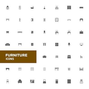 Meble i wystrój domu zestaw ikon