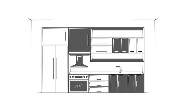 Meble kuchenne minimalistyczne na białym tle logo