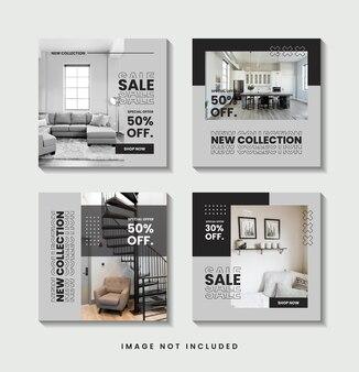 Meble minimalistyczna kolekcja szablonów postów w mediach społecznościowych