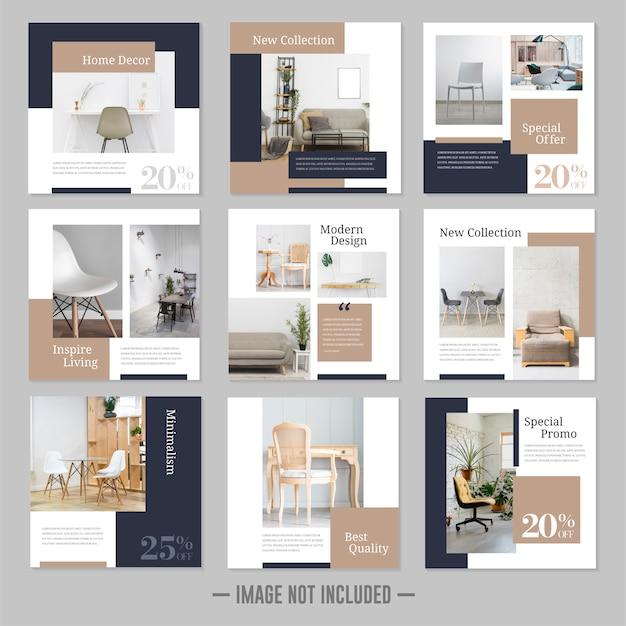 Meble minimalistyczne media społecznościowe zamieszczają banery szablonów
