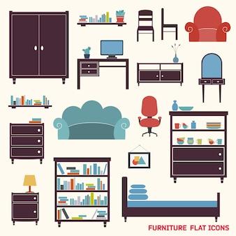 Meble płaskie ikony dekoracyjne zestaw szafki fotel szafy izolowane ilustracji wektorowych