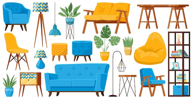Meble pokojowe. zestaw ilustracji przytulnych mebli do domu, sofy, fotela, stołu, lampy i kanapy z kreskówek