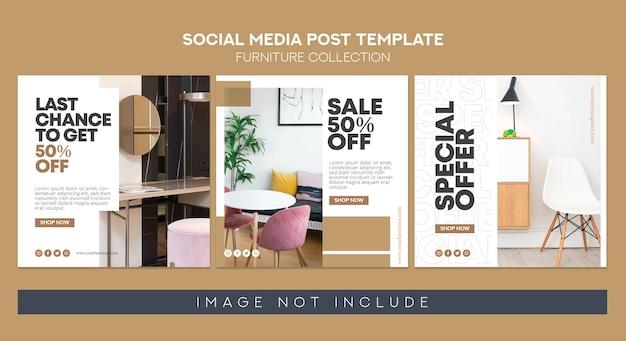 Meble w mediach społecznościowych post instagram i pakiet banerów rss