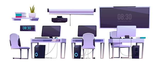Meble wektorowe w klasie biurowej lub komputerowej