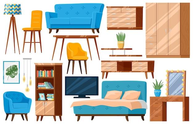 Meble z kreskówek. elementy mebli gospodarstwa domowego, łóżko, sofa, fotel i szafka na białym tle zestaw