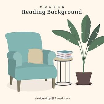Meble z książkami w tle