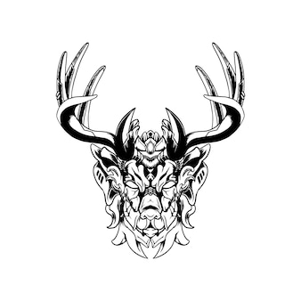 Mecha Deer Ilustracja. Premium Wektorów
