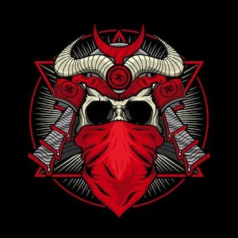 Mechaniczna czaszka czerwonego samuraja ze szczegółową koncepcją projektu war armor