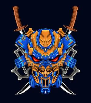 Mechaniczna czaszka robota z mieczem