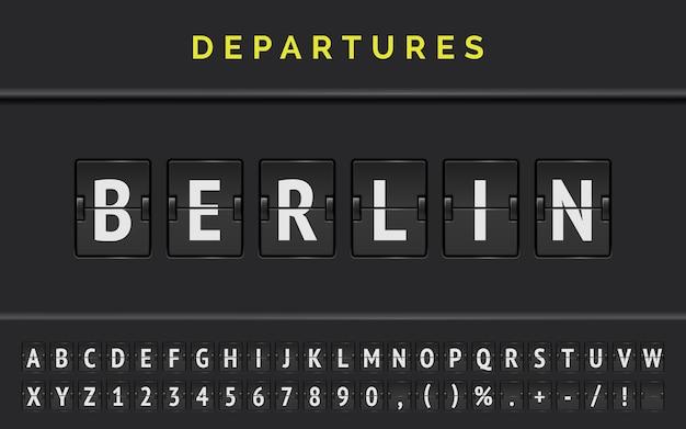 Mechaniczna czcionka na lotnisku z informacją o locie docelowym w europie berlin ze znakiem odlotu samolotu.