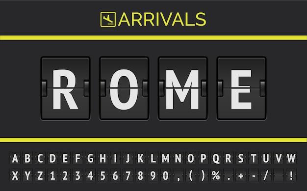 Mechaniczna czcionka na tabliczce na lotnisku wyświetla informacje o locie w europie: rzym ze znakiem rozkładu lotów.