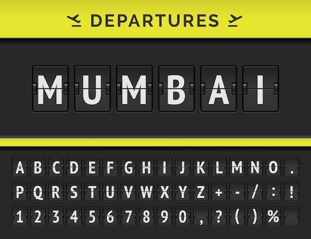 Mechaniczna czcionka z klapką lotniska z informacjami o locie miejsca docelowego odlotu w indiach: bombaj z ikoną linii lotniczych.