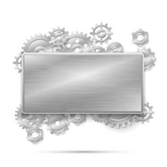 Mechaniczna koncepcja steampunk. rama z metalowymi zębatkami. konstrukcja mechanizmu stal maszynowa, mechaniczna przemysłowa