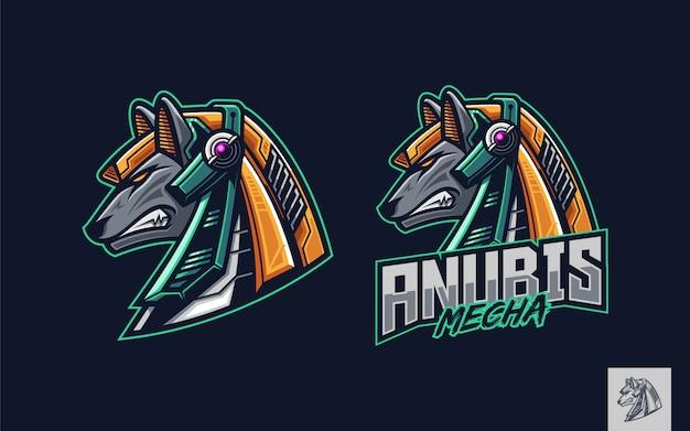 Mechaniczna maskotka z logo anubisa na głowie