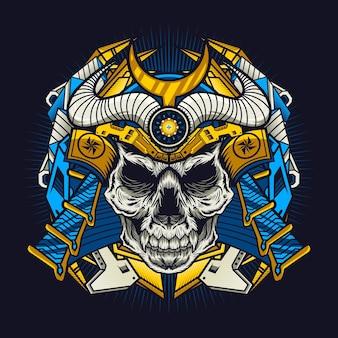 Mechaniczna niebieska czaszka samuraja ze szczegółową koncepcją projektu war armor