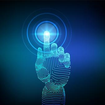Mechaniczna ręka szkieletowa dotykająca interfejsu cyfrowego. futurystyczna koncepcja robotyki.