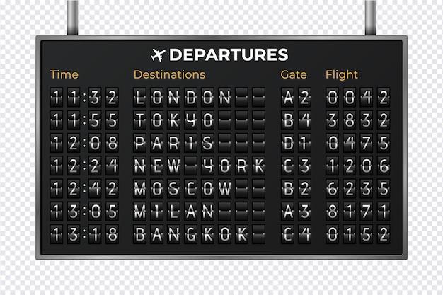 Mechaniczna tablica wyników lotniska. realistyczne komunikaty o odlotach i przylotach sprzętu. odliczanie czasu odlotu. ilustracji wektorowych