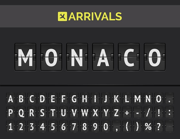 Mechaniczna tablica wyników przylotów. lotniskowa koncepcja flipboardu przedstawiająca lot do monako w europie.