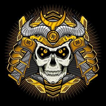 Mechaniczna złota czaszka samuraja z koncepcją szczegółowego projektu wektorowego zbroi wojennej