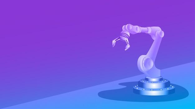 Mechaniczne ramię robota z chwytakiem i miejscem na kopię na kolorowym tle. szablon banera lub strony internetowej. ilustracja wektorowa.