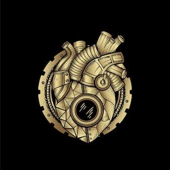 Mechaniczne serce, ilustracja karty z ręcznie rysowanym ezoterycznym, boho, duchowym, geometrycznym, astrologicznym, magicznym motywem, dla karty czytnika tarota