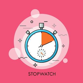 Mechaniczny analogowy ręczny stoper lub minutnik koncepcja śledzenia czasu i pomiaru odliczania dokładny lub precyzyjny czas