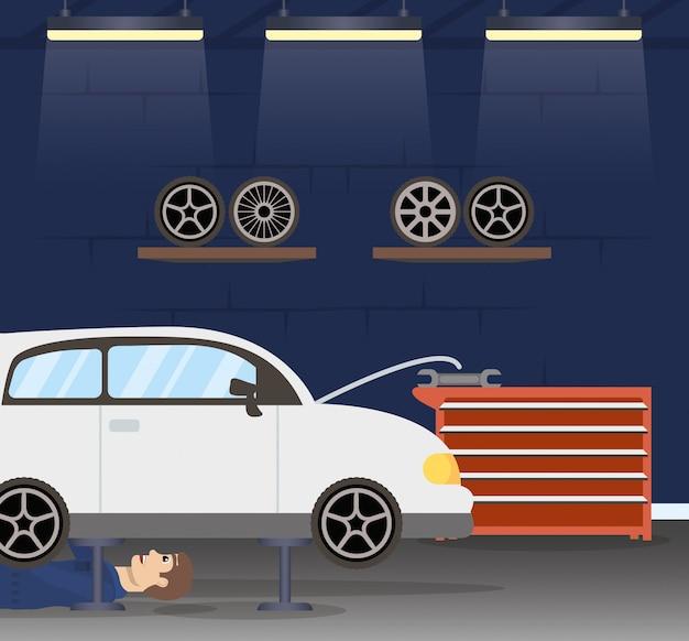 Mechanik człowiek pracuje w charakterze samochodu